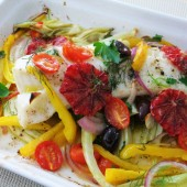 Grilled Cod Fish with Onions and Peppers