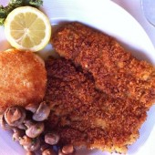 Breaded and Sautéed Veal Cutlets in a Brandy Sauce