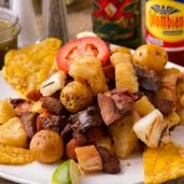 Fried Homemade Sausage with Yuca
