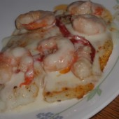 Filet of Tilapia in a White Sauce with Shrimp