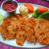 Breaded and Sautéed Veal Cutlets in a Lemon and Butter Sauce